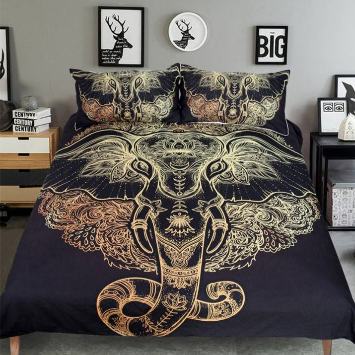 Boho Golden Ganesha Microfiber Bedding Set