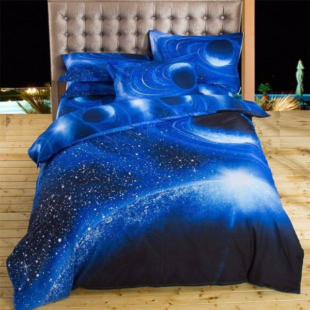 deep blue space galaxy bedding set