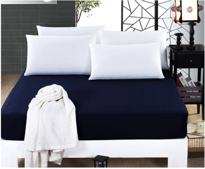 navy blue fitted mattress cover