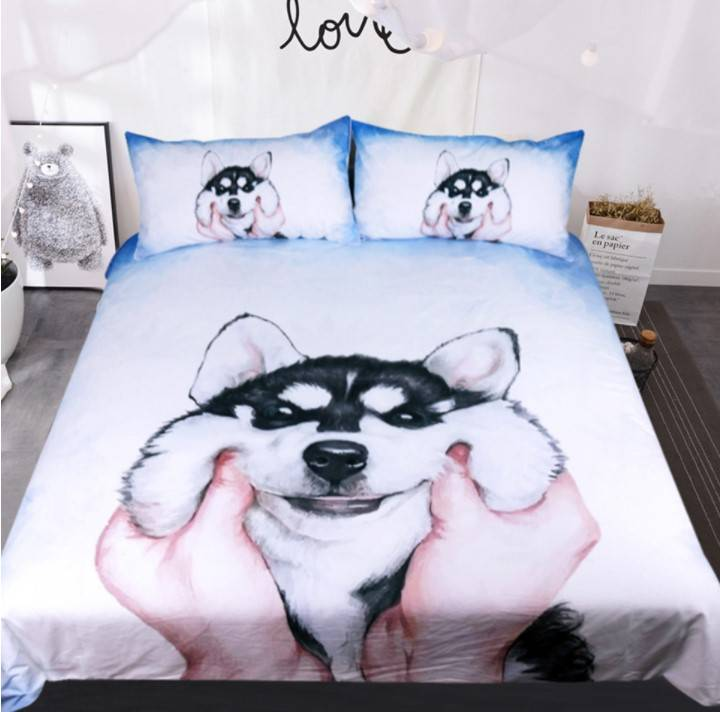 alaska husky duvet cover bed set