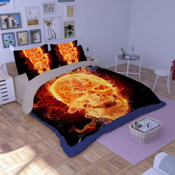 flame Skull Design Comforter