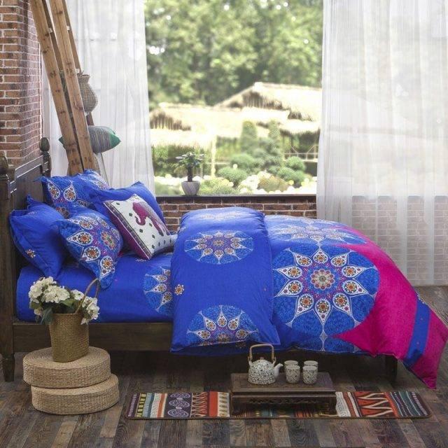 mandala brown blue star pattern duvet cover set