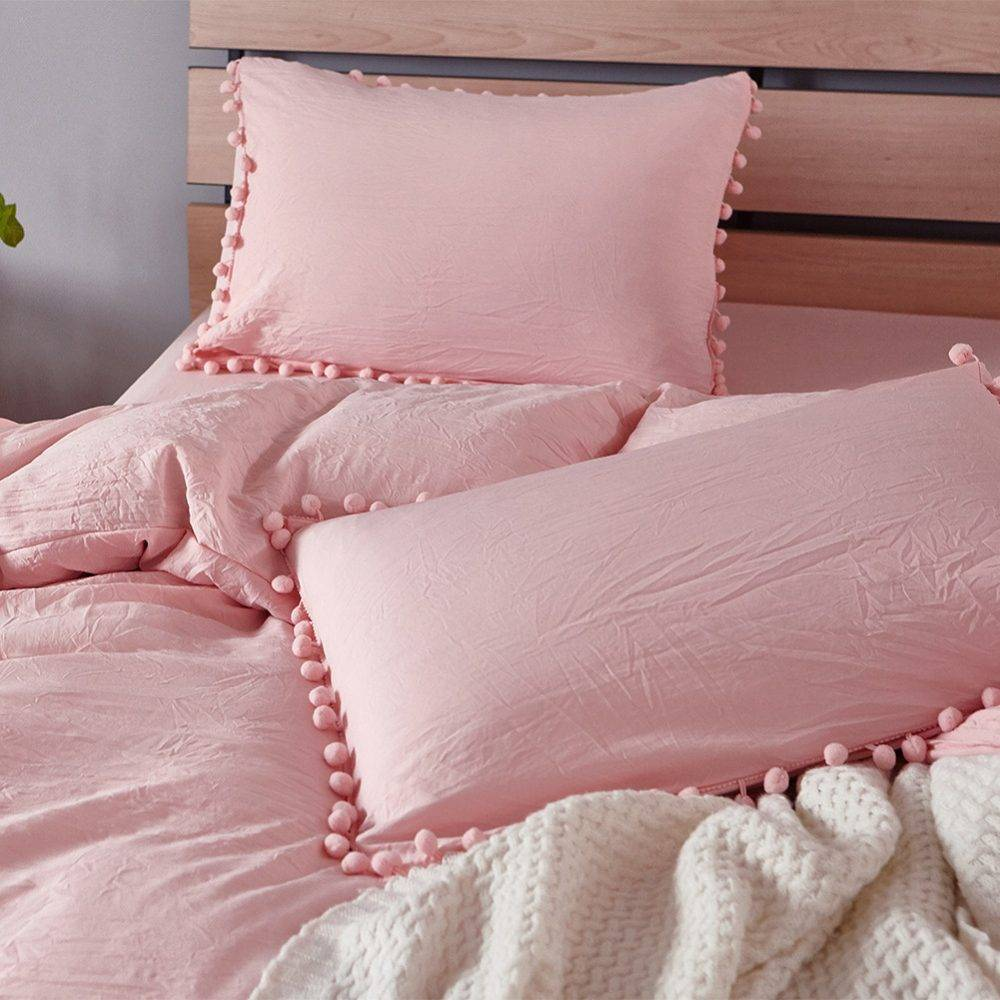 solid pastel soft pink pillows close up