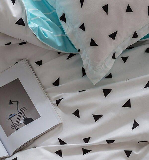 black triangles on white blue duvet bedding set