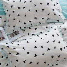 triangle white blue pillows