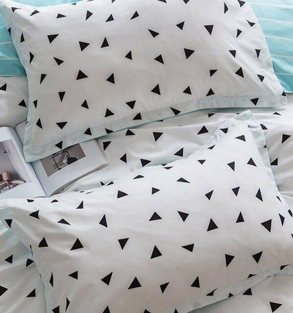 triangle white blue pillows