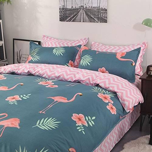 Flamingo Floral Duvet Bedding Set Oxford Blue and Pink