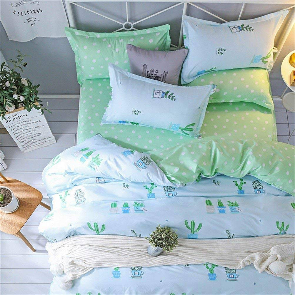 Cactus Duvet Bedding Set White and Mint Green