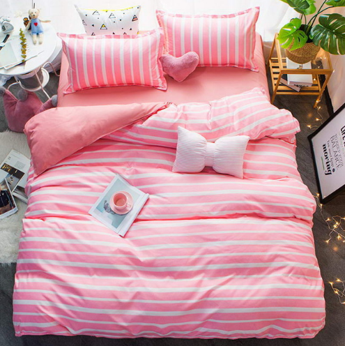 Pink Striped Duvet Cover Set