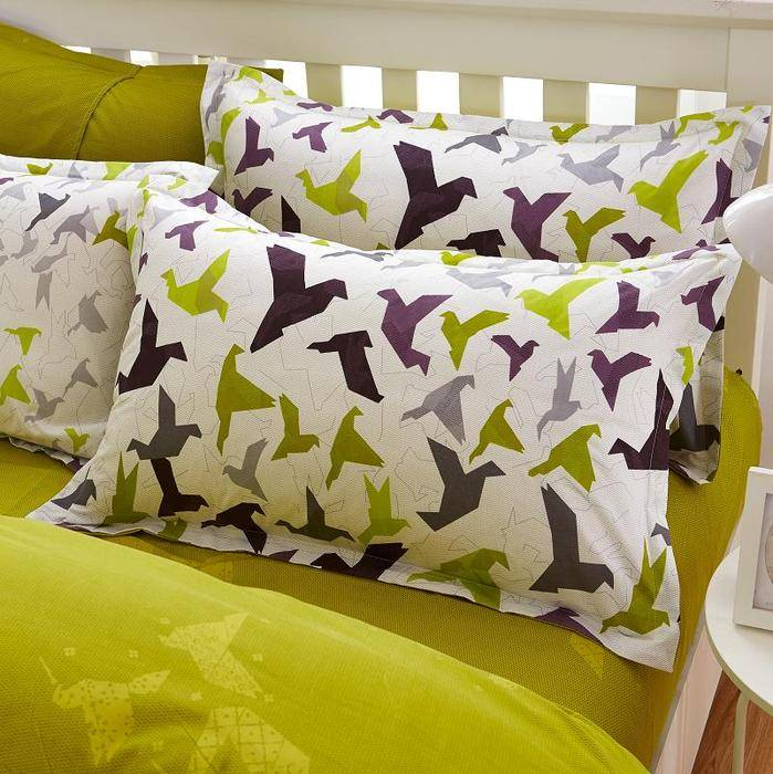 Black Green Origami pillow covers