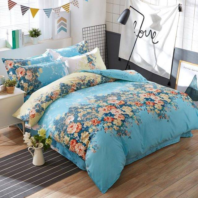Blue Floral Duvet Cover Bed Sheet