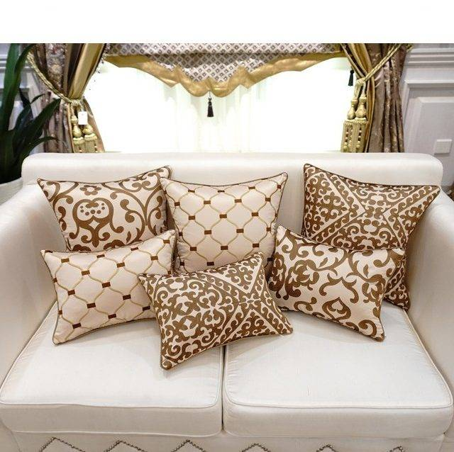 Embroidered Luxury Decorative Satin Pillows 12 Colors