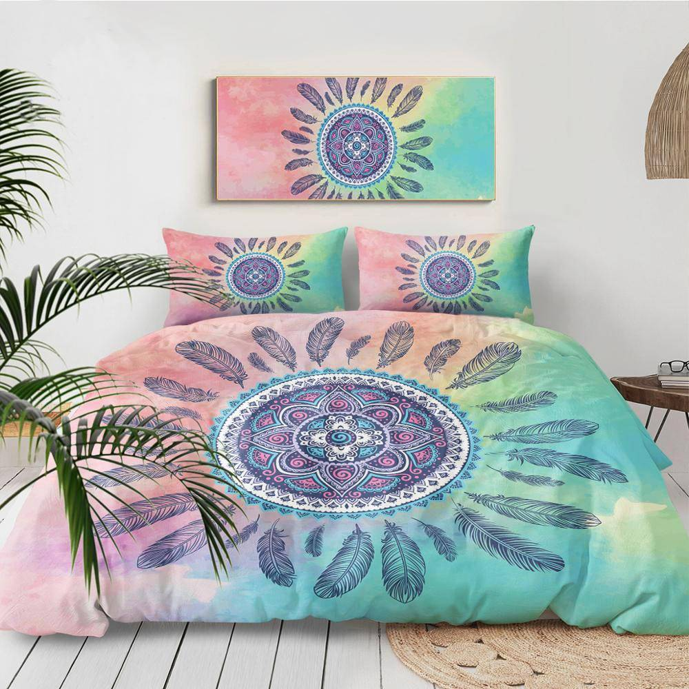 Mandala Pink and Blue Duvet Cover Boho Bed Set