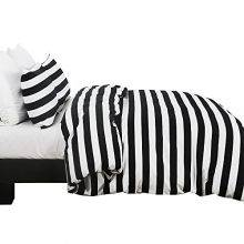 black and white striped bedding side