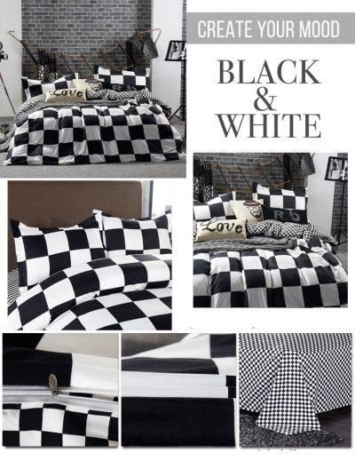 black + white checkered duvet cover