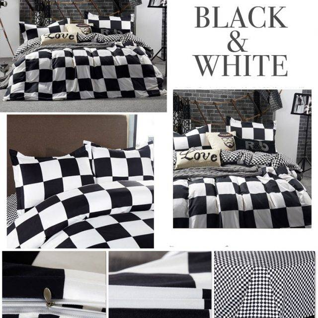 black + white checkered duvet cover