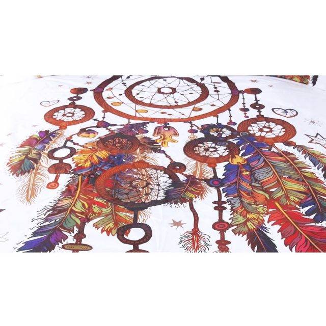 bohemian white dreamcatcher duvet cover
