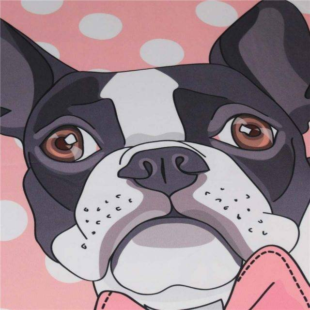 boston terrier sheet set close-up