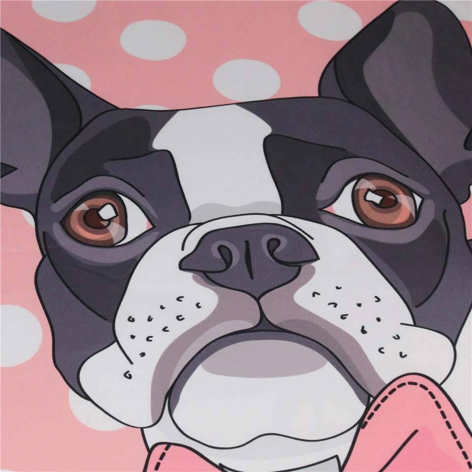 boston terrier sheet set close-up