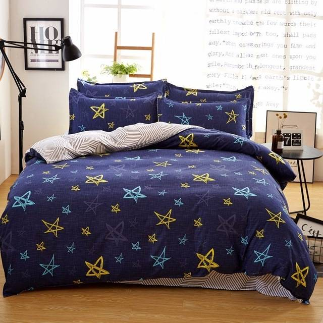 dark navy star duvet cover bed set
