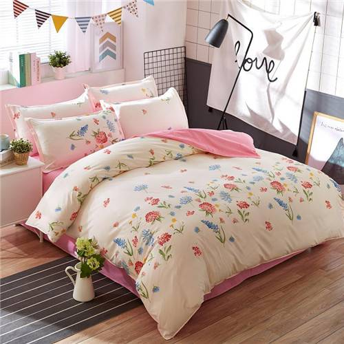 pink and white floral duvet cover bed set