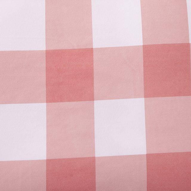 Eco Pink Plaid Duvet Cover Polyester 4 Pcs Bedding Set