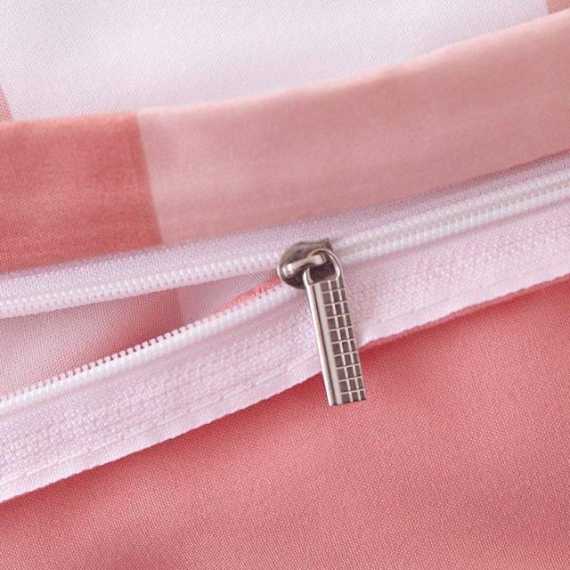 plaid duvet cover rose zipper