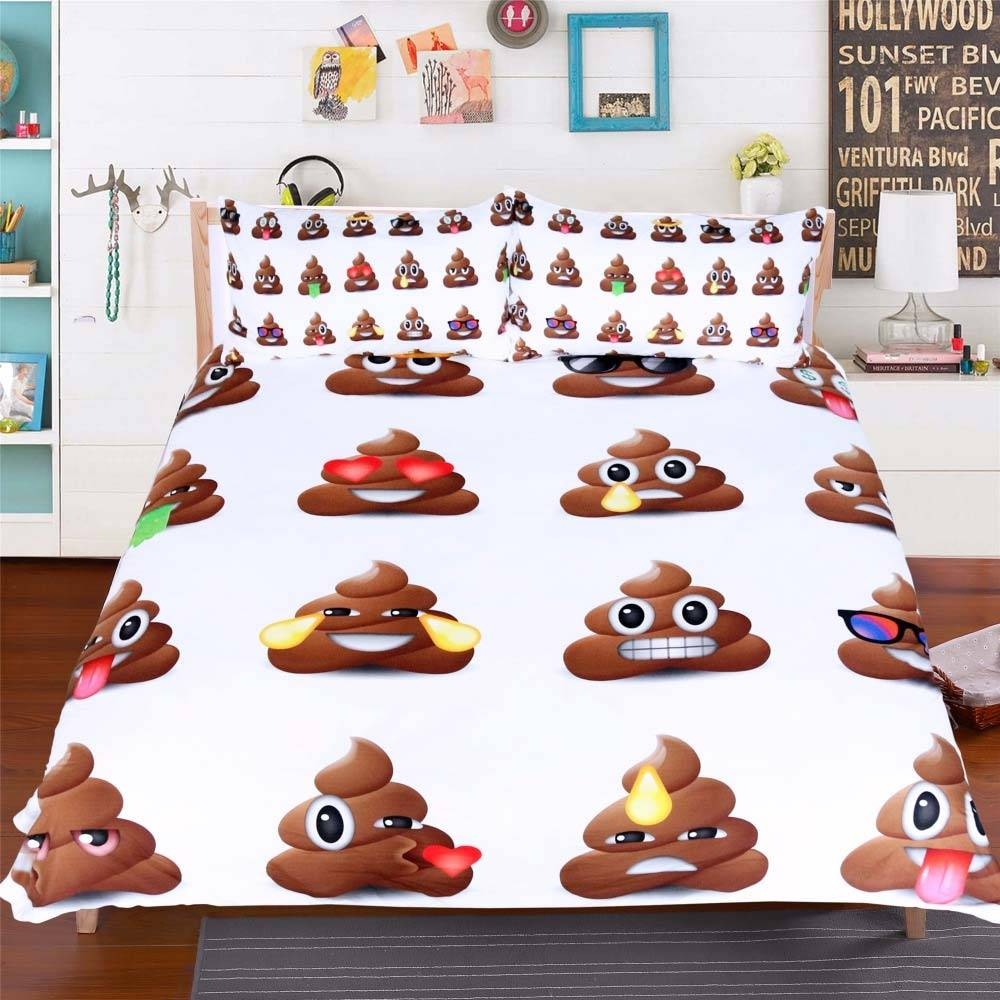 poop emoji bedding set