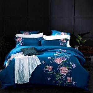 embroidered duvet bedding set atol blue