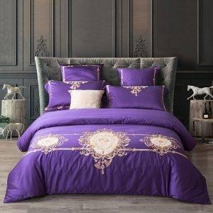 embroidered duvet bedding set purple