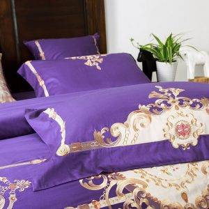 embroidered purple duvet bedding set cushions