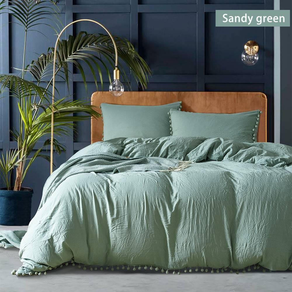 Scandinavian Pom Pom Duvet Cover Bedding Set (5 Colors)