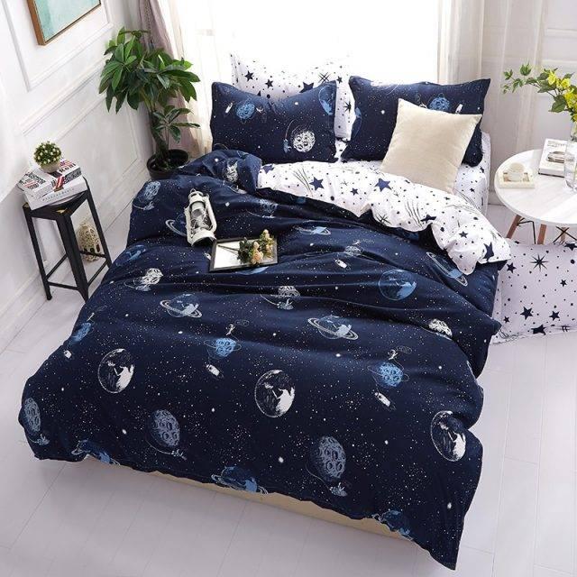 Cartoon Space Pattern Bedding Set