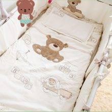 Cute Bear Embroidery Crib Bedding Set