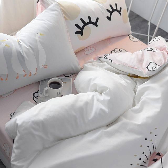 Kid's Cartoon Goose Cotton Bedding Set