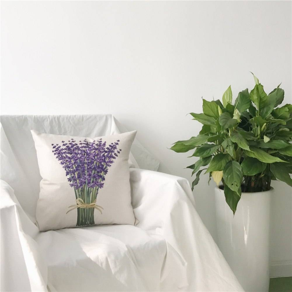 Pastoral Lavender Pattern Pillow Cover