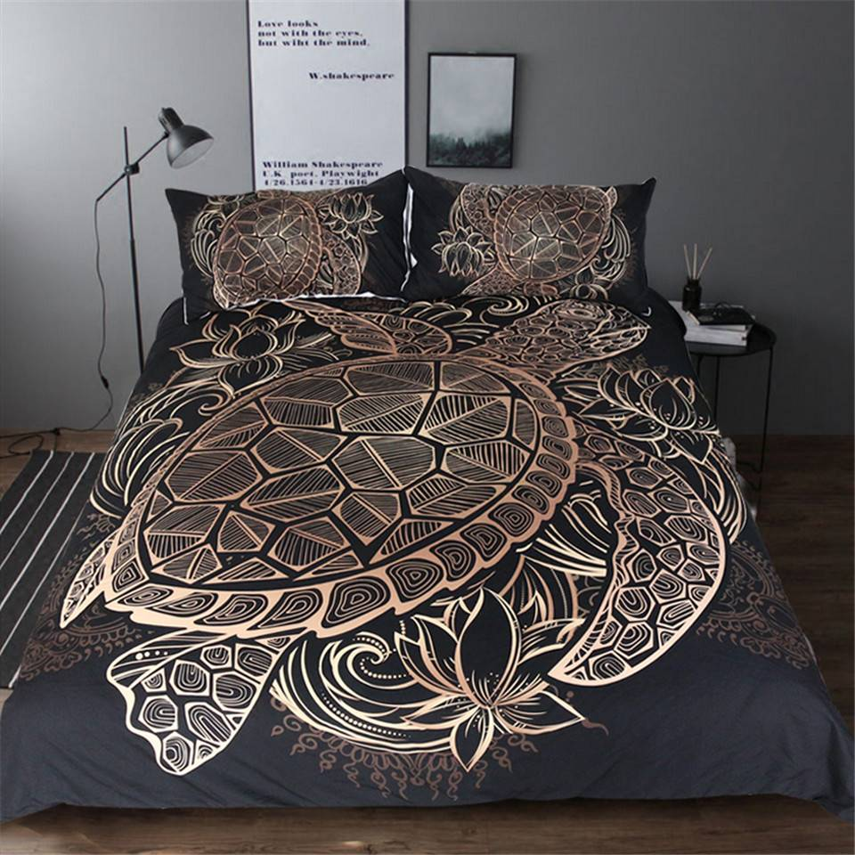 Polynesian Turtle Duvet Cover Bedding Set Gold and Black