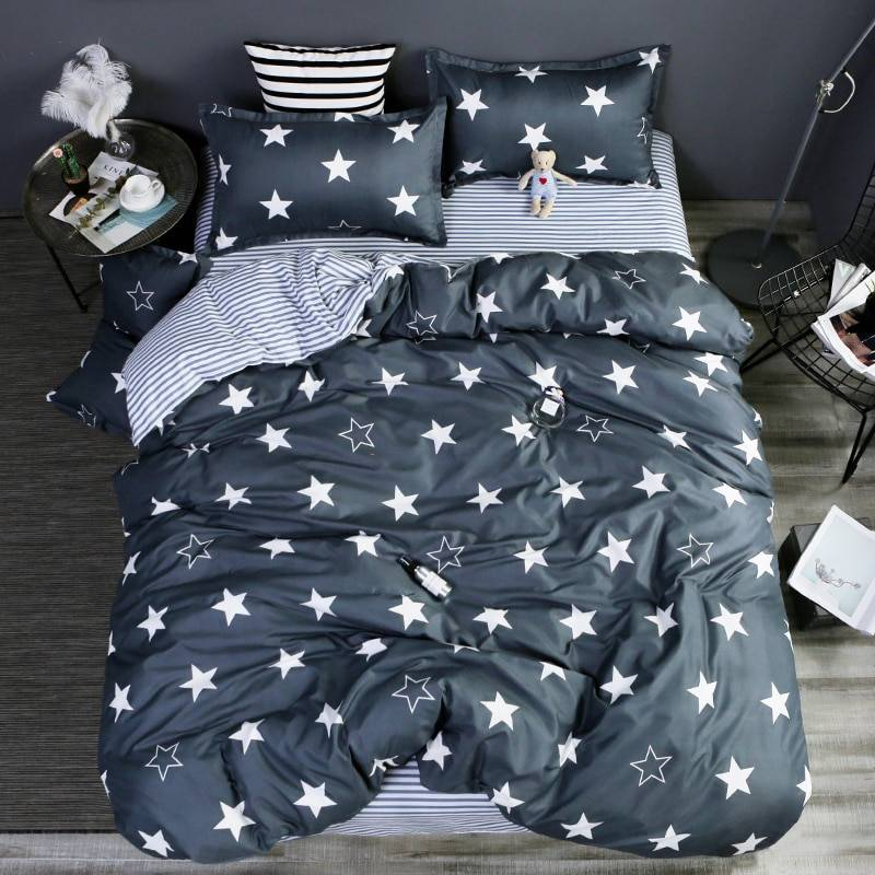 Super Soft Star 3pc Duvet Cover Bedding Set Flat Sheet Pillowcase
