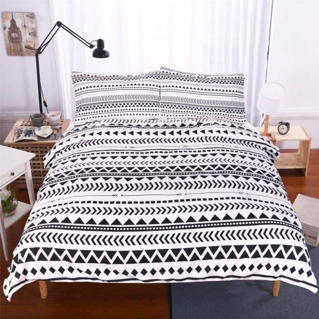 Black White Striped Geometric Pattern Duvet Cover (3Pcs)