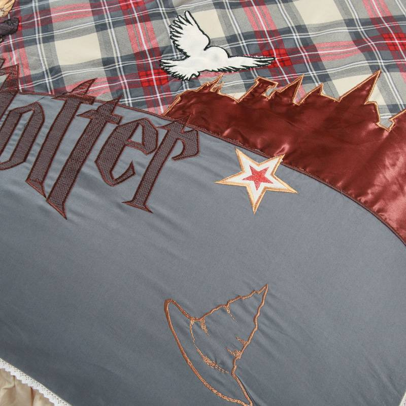 Harry Potter Duvet Cover Embroidered Egyptian Cotton Bedding Set  (5 pieces)