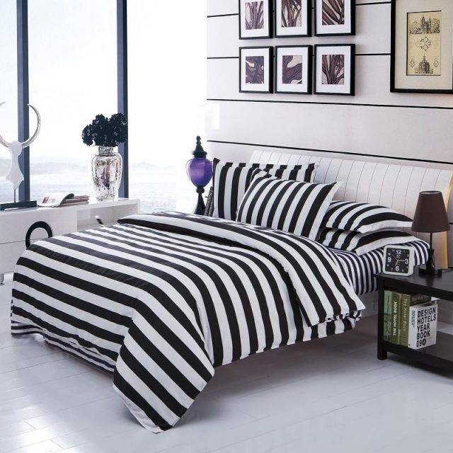 Black White Stripe Duvet Cover Style Cotton Bedding Set