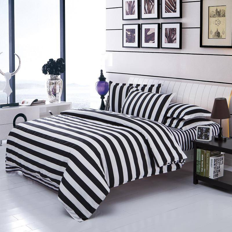 Black White Stripe Duvet Cover Style Cotton Bedding Set