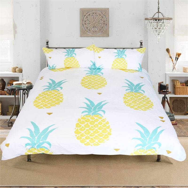 Pineapple Bedding Set Duvet Cover Printed Fruit 3 Pcs Bedsheet+Pillowcases