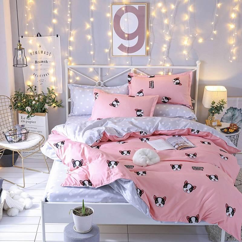 Pink French Bulldog Duvet Cover Bed Set