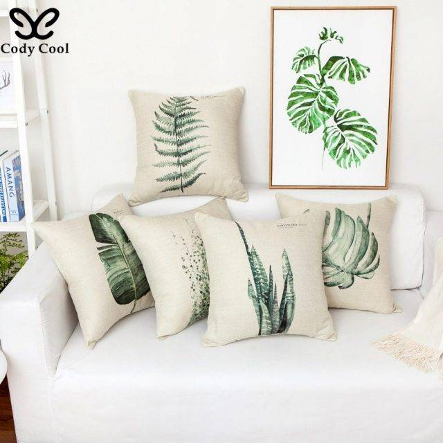 Botanical Tropical Plants Cushion Cover Linen Pillow Case 45x45cm (4 designs)