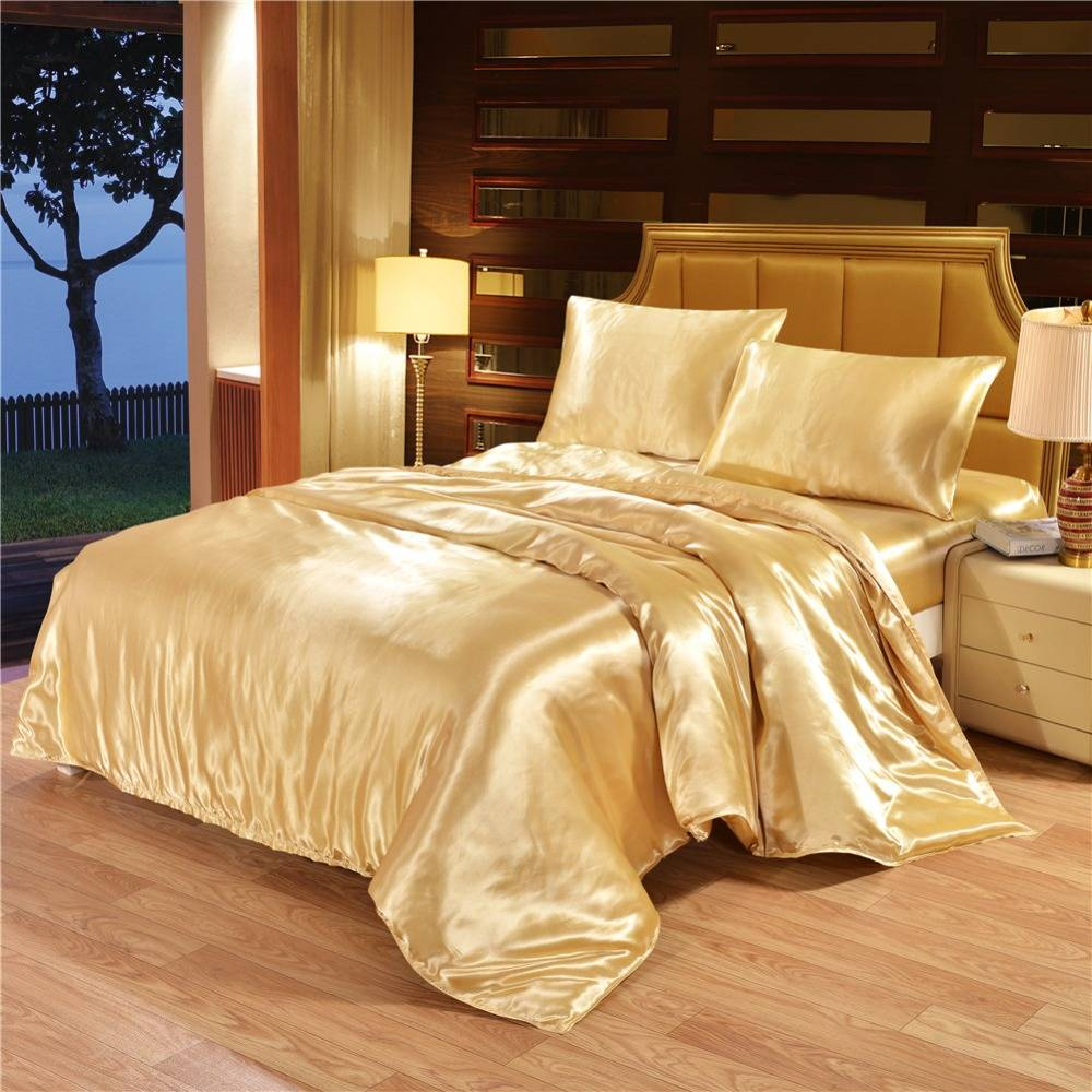 Satin Linen Duvet Cover Luxury Bedding Set (5 colors)