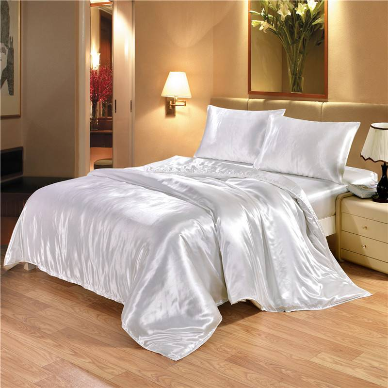 White and Black Satin Silk Duvet Cover and Bedding Set (8 Colors)