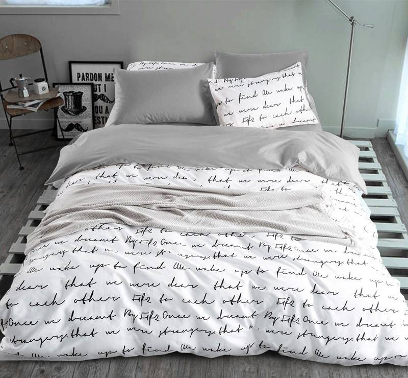 Black and White Letter Duvet Cover Bed Set (4 colors 5 Sizes)