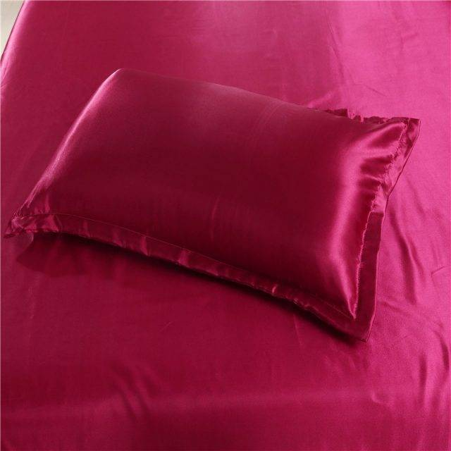 New Arrival Wine Red Color King Queen Size Bedding Set Soft and Smooth Solid Satin Silk Queen Duvet Cover Sets For Summer