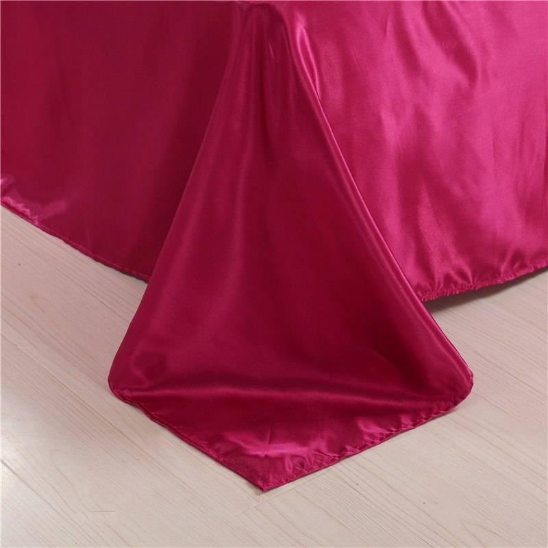 Red Color Bedding Velvet Solid Satin Silk Queen Duvet Cover Sets